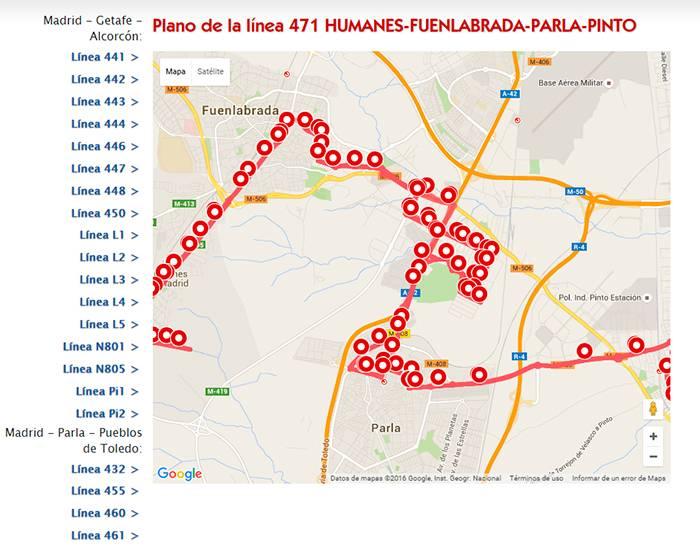 Lineas de autob s en el pol gono cobo calleja 462 y 471 for Planos en linea